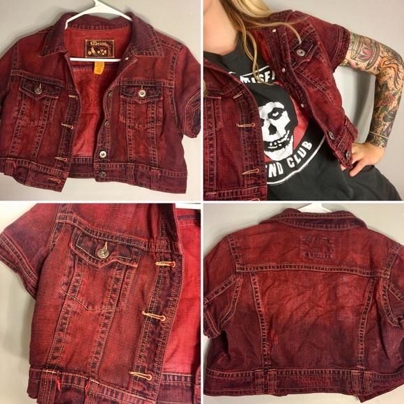 52f382cc2 Vintage style Red Acid Wash Denim Vest Goth Punk